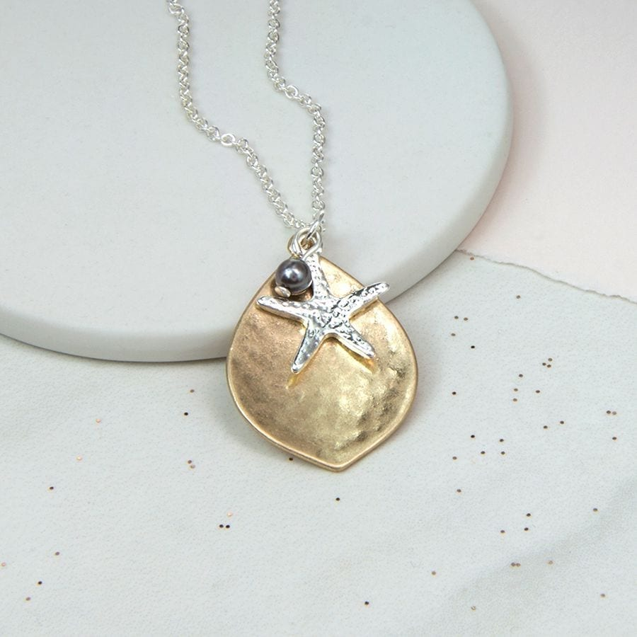 Gold Plated Leaf, Silver Starfish And Pearl Necklace at Henley Circle Online Shop