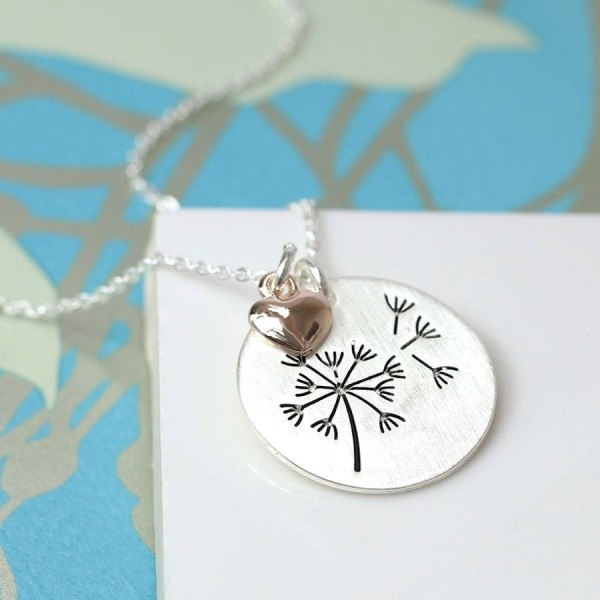 Silver Plated Dandelion Disc Necklace at Henley Circle Online Shop