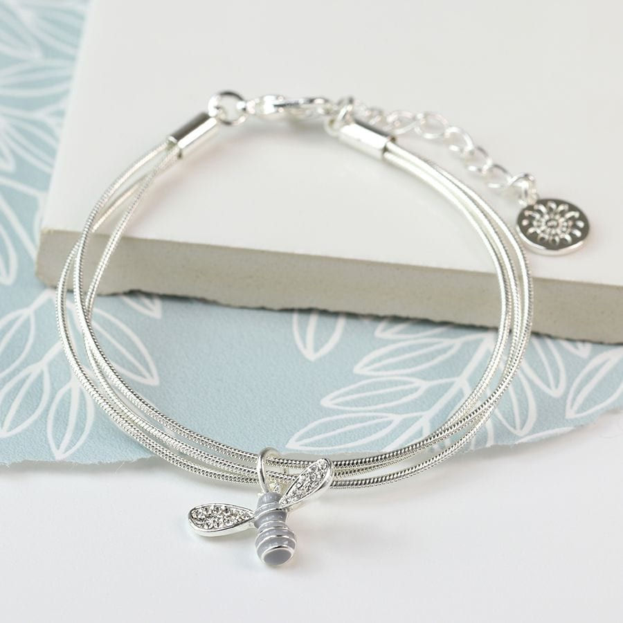 Honey Bee Charm Strand Silver Plated Bracelet at Henley Circle Online Shop