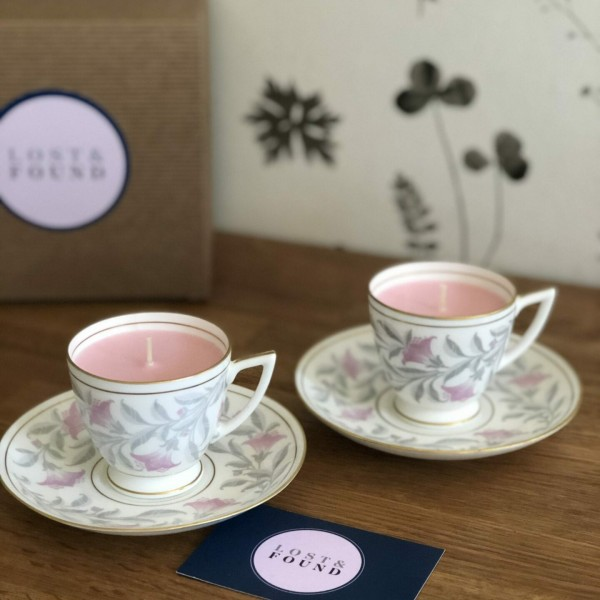 Grey & Pink tea cups and saucers x 2 at Henley Circle Online Shop