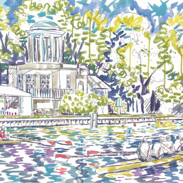 View of Temple Island card by Kirsten Jones at Henley Circle Online Shop