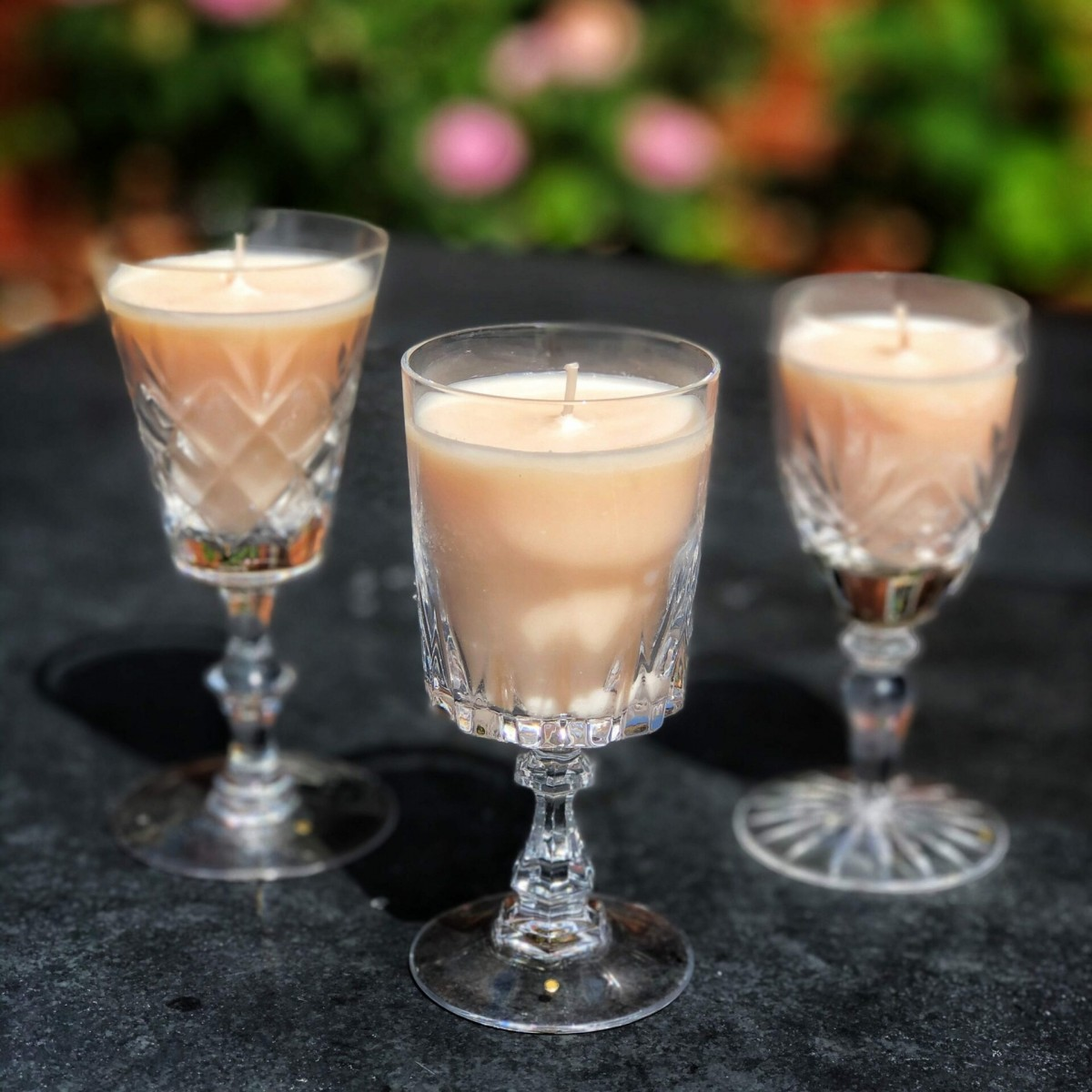 Vanilla blossom candles in vintage sherry glasses at Henley Circle Online Shop