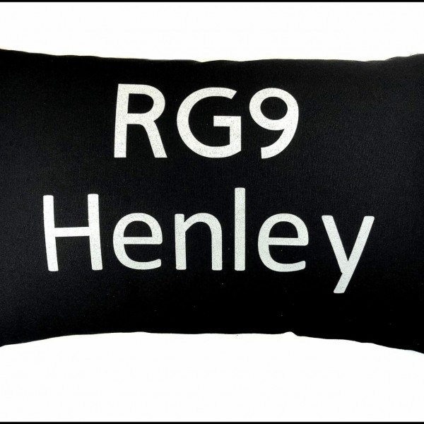 Postcode Cushion – 50x30cm Cotton Cushion Personalised With Your Choice of Postcode and Town Name at Henley Circle Online Shop
