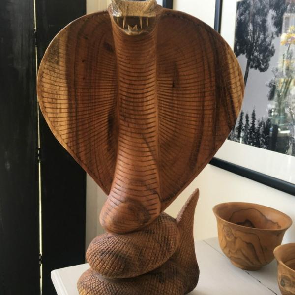 Carved Wood Cobra at Henley Circle Online Shop