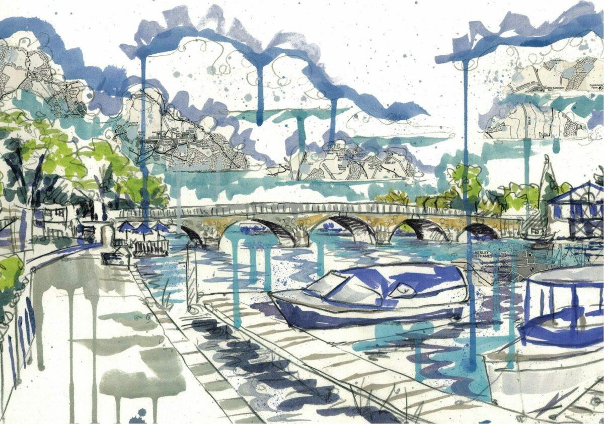 View of Henley Bridge 1 card by Kirsten Jones at Henley Circle Online Shop