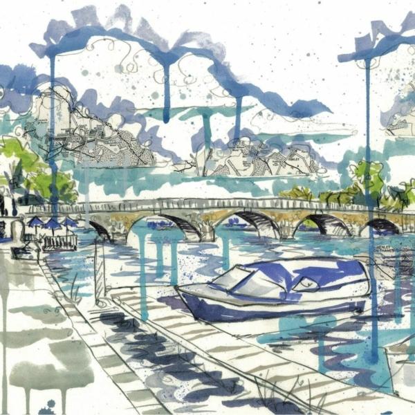 View of Henley Bridge 2 card by Kirsten Jones at Henley Circle Online Shop