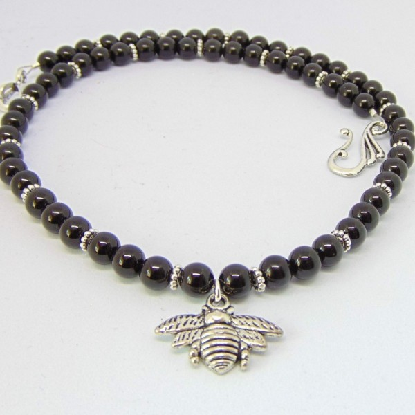 Onyx Bumble Bee Necklace
