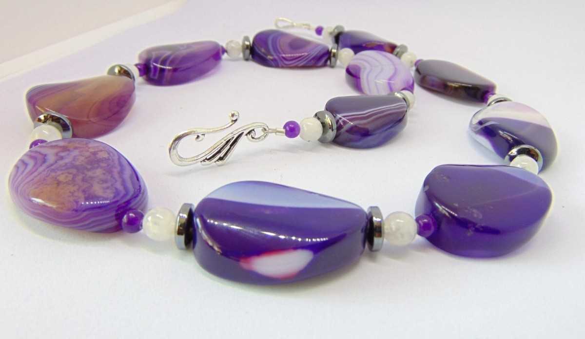 Purple Brazilian Agate Necklace with Moonstones at Henley Circle Online Shop