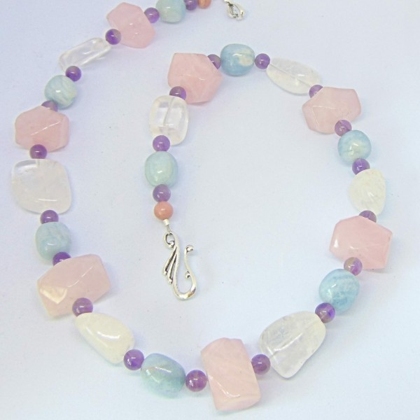 Mixed Gemstone Necklace, Pastels at Henley Circle Online Shop