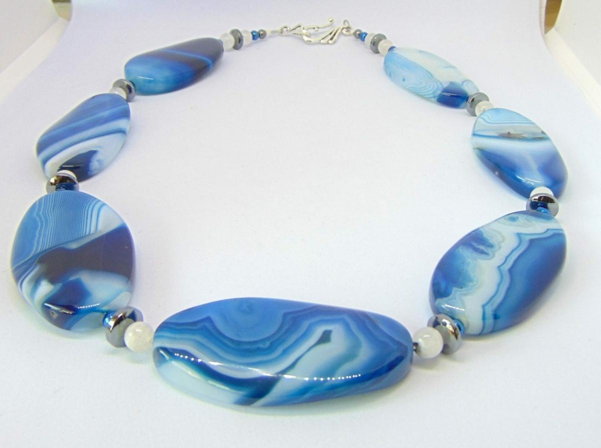 Blue Brazilian Agate Necklace at Henley Circle Online Shop
