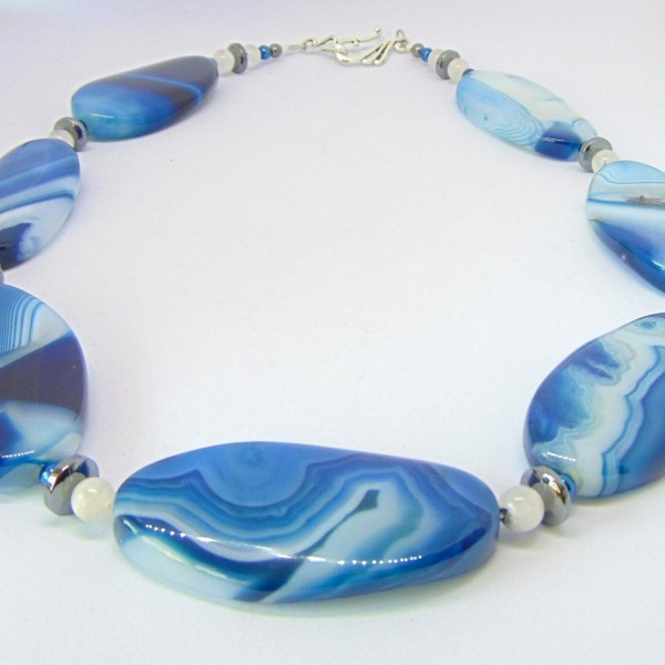 Blue Brazilian Agate Necklace at Henley Circle Online Shop