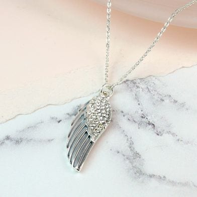 Silver Plated Grey Enamel Crystal Angel Wing Necklace at Henley Circle Online Shop