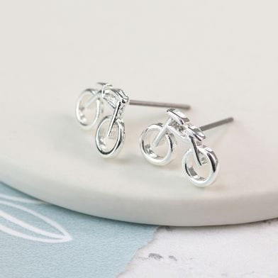 Silver plated stud earrings featuring a pair of little bicycles. at Henley Circle Online Shop