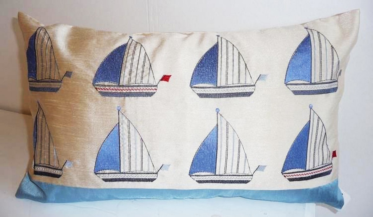 Blue Boats Cushion at Henley Circle Online Shop