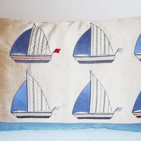 Blue Boats Cushion at Henley Circle Online Shop