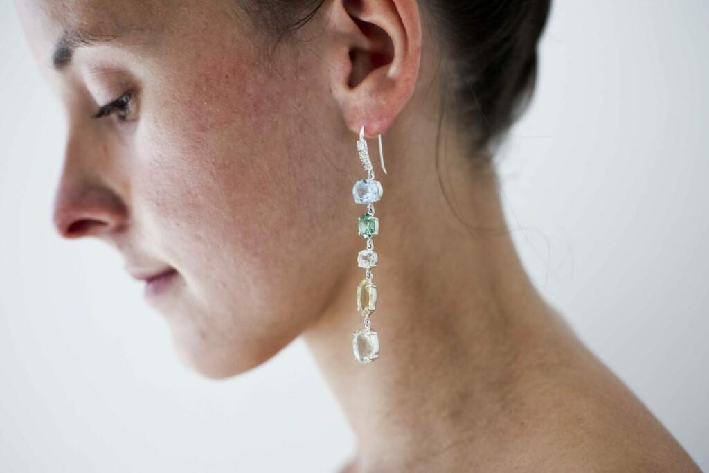 Odite Hook Earrings – Blue Topaz, Lemon Quartz, Cubic Zirconia, Green Amethyst at Henley Circle Online Shop