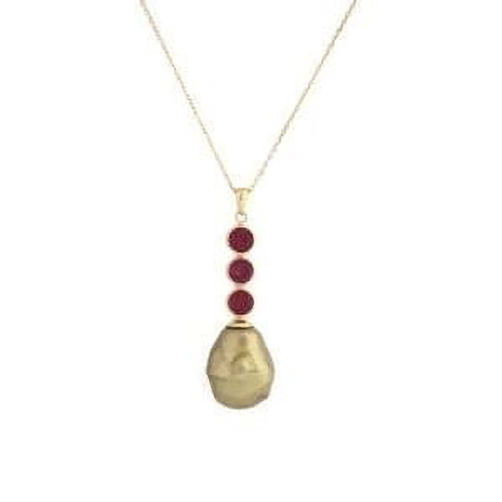 Pallas Pearl Pendant – Golden Shell Pearl with Raspberry Trio at Henley Circle Online Shop