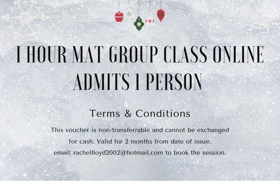 1 Hour Pilates Mat Group Class Gift Voucher via Zoom at Henley Circle Online Shop