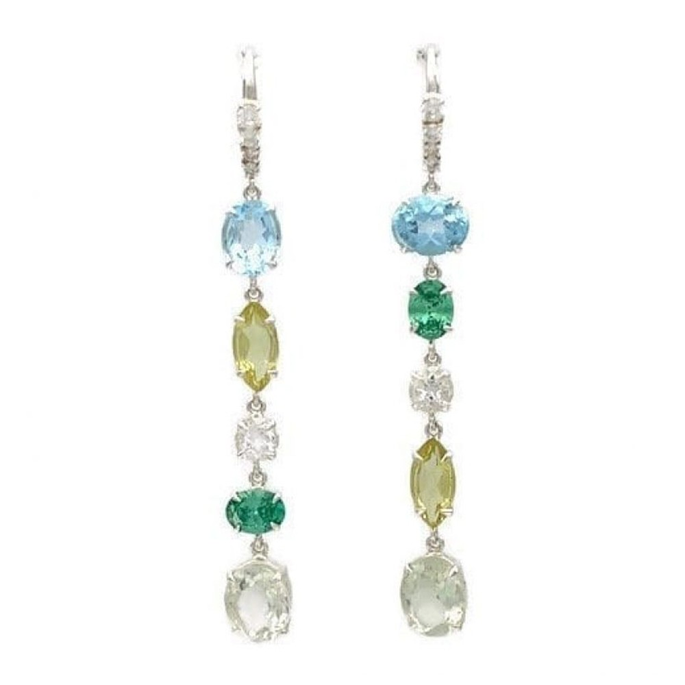 Odite Hook Earrings – Blue Topaz, Lemon Quartz, Cubic Zirconia, Green Amethyst at Henley Circle Online Shop