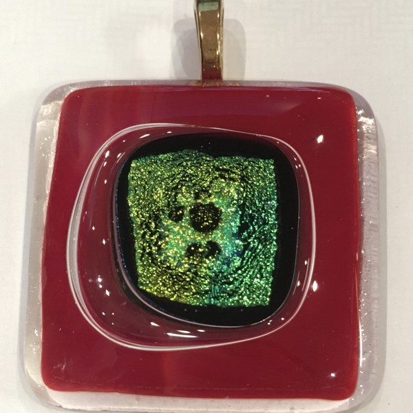 Unique Iridescent Green and Red Glass Pendant at Henley Circle Online Shop