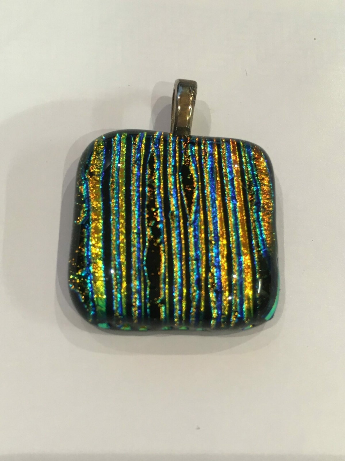 Stripey Gold and Blue Handmade Recycled Glass Pendant at Henley Circle Online Shop