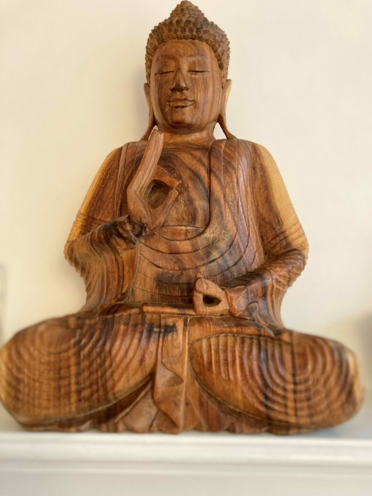 Beautiful Wood carved Teaching Buddha at Henley Circle Online Shop