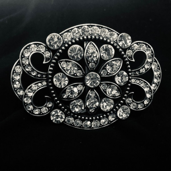 Cut Glass and Silver Tone Belt Buckle at Henley Circle Online Shop